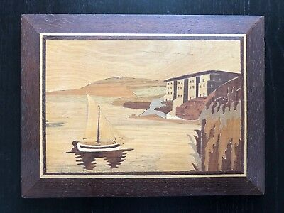 Fine Carved Italian Marquetry Inlaid Wood Sailboat Oceanside Villa Art Plaque NR