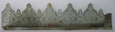 Rare Long Antique French Zinc Frieze Header ~ Embossed Floral Scroll Pattern