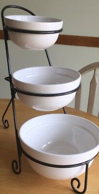 At Home America 3-tier Bowl Stand 3 Serving Bowls Storage Saver Bistro Buffet
