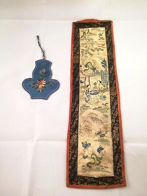 Chinese Antique Silk Embroidery With Beauty And Landscape 2 Piece