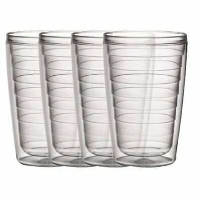 Plastic Tumblers Double Wall Insulation Clear Set of 4 16oz Hot & Iced Drinks