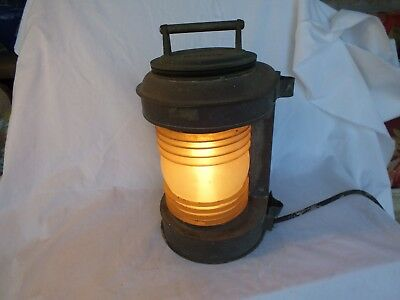 PERKO Copper and Brass Ship's Lantern Maritime Original Lens Metal Patina & Seal