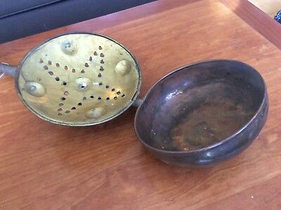 Antique Brass Metal Bed Warmer With Wooden Handle