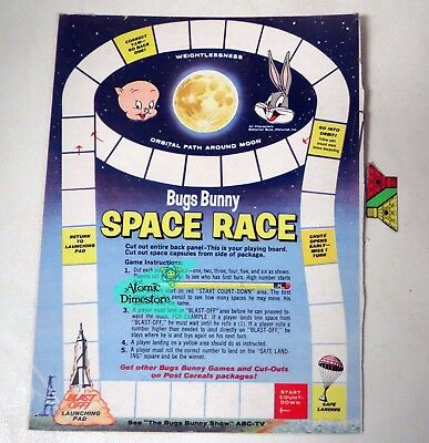 Vintage 1960s POST CEREAL Box back Bugs Bunny SPACE RACE #2