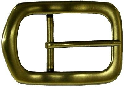 """Belt Buckle -  Centre Bar Antique Style Solid Brass  To Suit 1.5"""" Snap On Belt"""