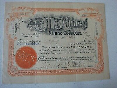 COLORADO 1913 STOCK CERTIFICATE MARY McKINNEY MINING COMPANY WITH RECEIPT