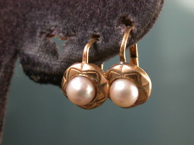 ANTIQUE DECO VICTORIAN GOLD F CULTURED SALTWATER PEARLS LEVER BACK EARRINGS  nr