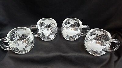 Vintage Nestle World Globe Clear Glass Mug Cup - 6oz. - Set Of Four (4)