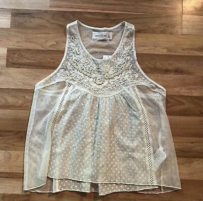 NWT! Abercrombie & Fitch White Mesh Lace Beaded Tank Top Small