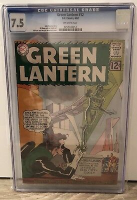 """Green Lantern #12 - Cgc 7.5 - """"Gl'S Statue Goes To War"""" - Off White Pages"""