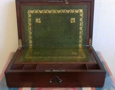 Antique writing slope writing box Victorian in Mahogany  c1895.