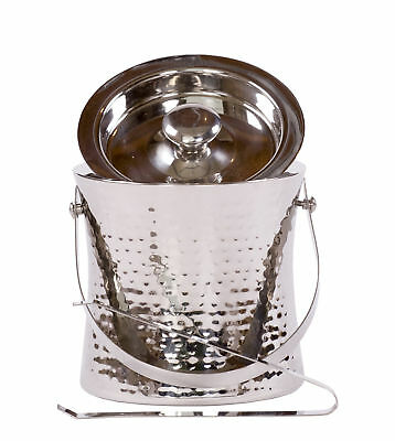 Epicurean Ice Bucket with Tongs & Lid Hammered Stainless Steel Double Wall Gift