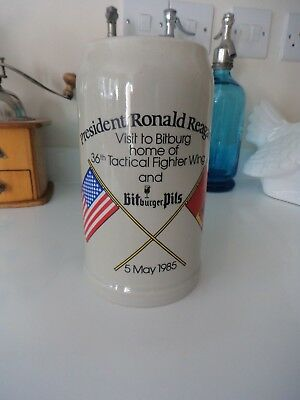 Ronald Reagan Bitburger Pils Stoneware German Beer Mug/Stein 1 Liter 36th FW