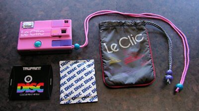 LE CLIC PINK DISC CAMERA + UNUSED UNOPENED DISC FILM + CASE - Vintage 80s - RARE