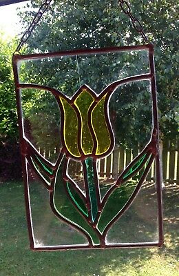 Handmade French Stain Glass Display Panel / Window Pane Of A Tulip