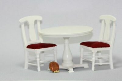 Dollhouse Miniature Round White Table with 2 Chairs Set