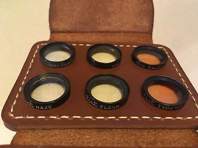 Stereo Realist 3D Camera Lens Filters With Leather Case.