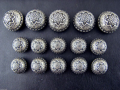 A Set of Antique Silver Colour Metal Crested Dome Buttons