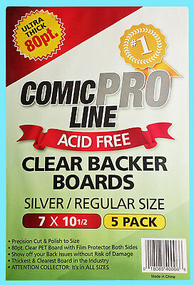 5 COMIC PRO LINE Crystal CLEAR SILVER / REGULAR SIZE 80pt BACKER BOARDS Backing
