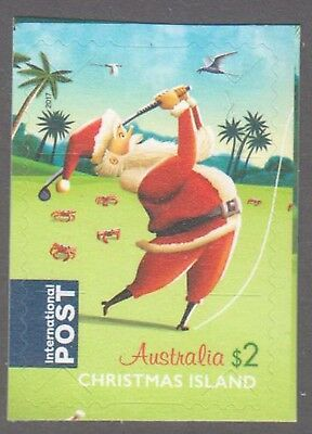Christmas Island  2017 Christmas International Post Booklet stamp.Golfing Santa.