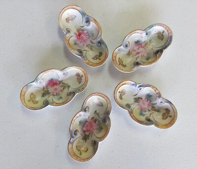 VINTAGE German BONE DISHES Petite & Hand Painted LOVELY FLORAL PATTERN Set of 5