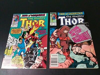 Thor 411 412 vf 1st cameo appearance of the New Warriors Copper Key newsstand