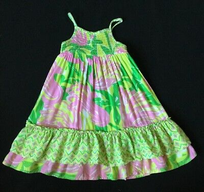 2a564927e31 Lilly Pulitzer For Target Fan Dance Smocked Dress 18m Green Pink Flamingos  18 M