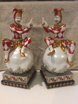 "Vintage Pair Court Jester Bookends Hand Painted Milson & Louis 10"" Tall"