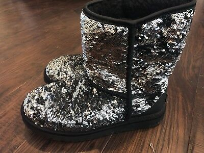 Sequin Black and Silver Uggs Size 8
