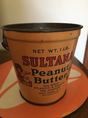Vintage Sultana Peanut Butter Tin Pail Bucket With Handle