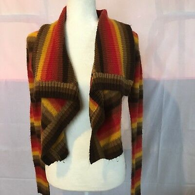Vintage 70's De Rothchild Medium Sweater Cardigan Shrug Top Red Orange Brown