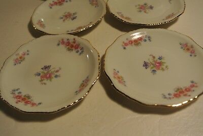 Set of 4 Floral Butter Pats with Gold Trim