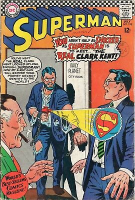 Superman # 198 / Dc 1967 / V.good+ / The Real Clark Kent.