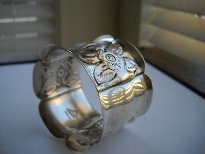 Sterling Silver Mexican Napkin Ring - Flowers/panels - F. Ramirez