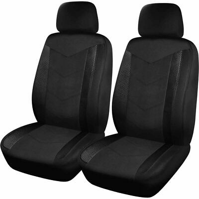SCA Carbon Fibre and Mesh Seat Covers - Black and Charcoal, Adjustable Headre...