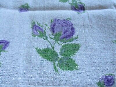 Vtg Feedsack Floral Feed Sack Purple Lavendar Roses and Buds Quilts Crafts Sew