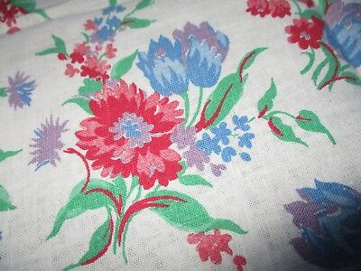Vtg Feedsack Floral Feed Sack Red Blue Flowers on White  Quilts Crafts Sewing