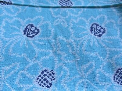Vtg Feedsack Floral Feed Sack Blue  White Flowers on Blue Quilts Crafts Sewing