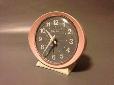 Westclox Mid Century Pink Baby Ben Mechanical Alarm Clock Retro Working