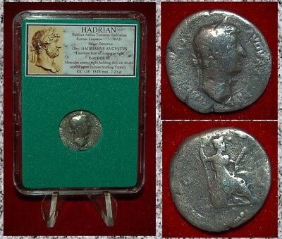 Ancient Roman Empire Coin HADRIAN Hercules On Reverse Silver Denarius
