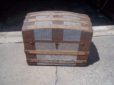 Antique 19th Century Victorian Dome Top Steamer Trunk  ~Tin,  & Wood
