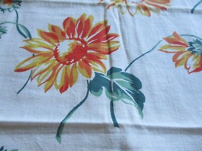 Vtg Feedsack Floral Feed Sack Bright Orange Flowers Quilts Crafts Sewing