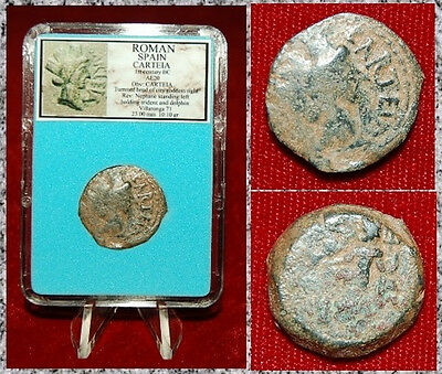 Ancient Coin Roman Spain CARTEIA Head Of City Goddess NEPTUNE On Reverse