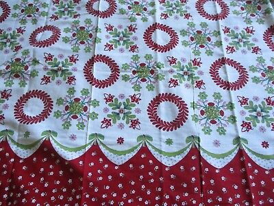 Vtg Feedsack Floral Feed Sack Floral Border Print Fabric Quilts Crafts Sewing
