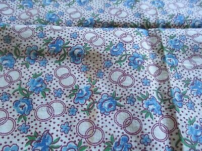 Vtg Feedsack Floral Feed Sack Tiny Blue Roses Tiny Rings Quilts Crafts Sewing