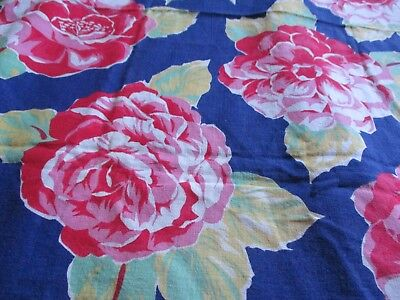 Vtg Feedsack Floral Feed Sack Red Pink Flowers Quilts Crafts Sewing