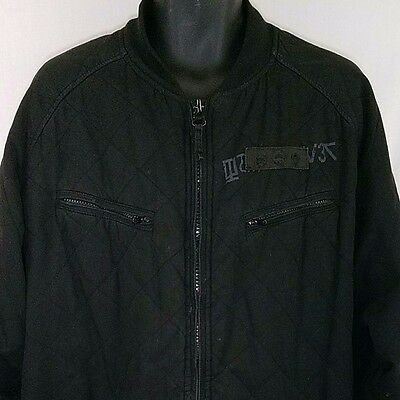 Quiksilver Mens Bomber Jacket Full Zip Military Style Black Quilted Size XL