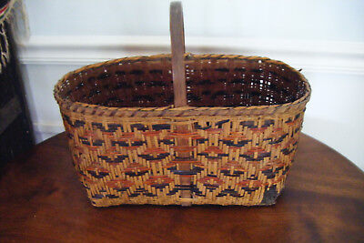 Antique Vintage Early Choctaw Cherokee Indian Woven Split Cane Market Basket