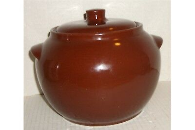 Vintage~WATT OVENWARE~USA~Bean Pot~w/Lid~Brown Glaze~#76