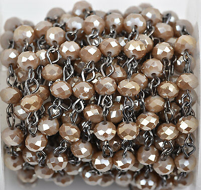 1yd CARAMEL BROWN TAUPE Crystal Rondelle Rosary Chain, gunmetal, 6mm  fch0531a